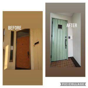 オシャレな玄関ドア、三協アルミ玄関ドア、フルリノベーション、玄関