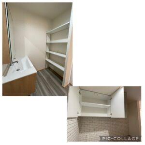 洗面台と収納棚、パントリー収納棚